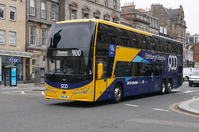Stagecoach West of Scotland Volvo B11RLET Plaxton Panorama YX69LBL 50413, new in January 2020, in Citylink route 900 branding, operating a route diverted service 900 to Glasgow at George Street, Edinburgh, on 22 July 2021.