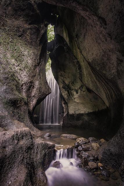 Waterfall inside cave in Bali