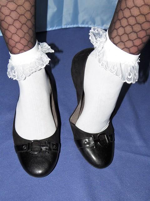 black leather ballet flats, frilly socks