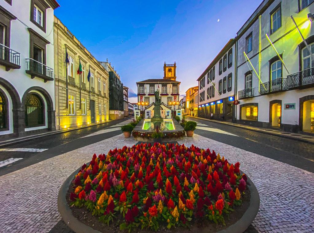 the colorful streets of Ponta Delgada