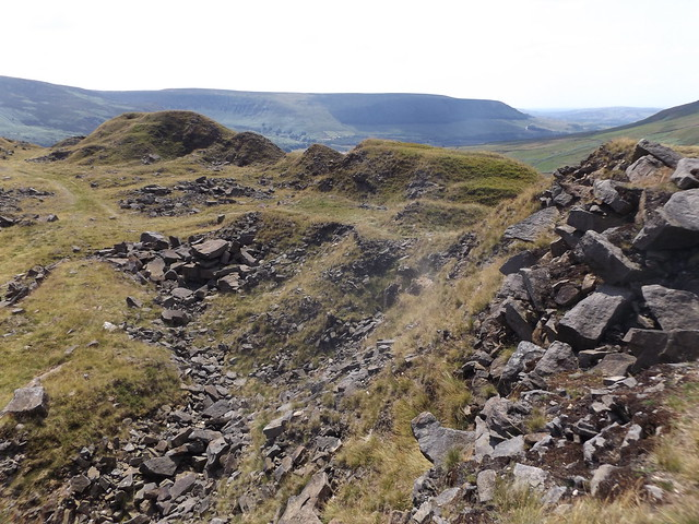 Spoil Heaps surrounding Crowden Great Quarry, Derbyshire, 20 July 2021