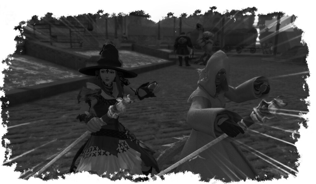 Sang and Prettyflower in the land of Eorzea