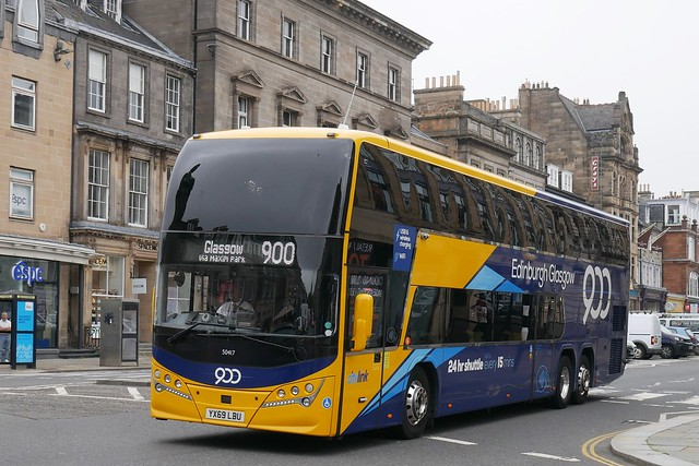 Stagecoach West of Scotland Volvo B11RLET Plaxton Panorama YX69LBU 50417, new in January 2020, in Citylink route 900 branding, operating a route diverted service 900 to Glasgow at George Street, Edinburgh, on 22 July 2021.