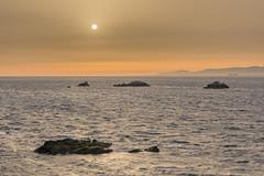 Puesta de sol en el estrecho de Gibraltar.