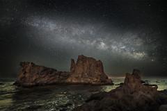 Milky way over the submarine