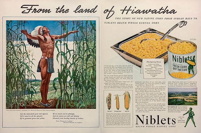 """""""Great Spirit of the Cornlands"""" by N. C. Wyeth in a 1942 Thanksgiving ad for Niblets Brand Corn."""
