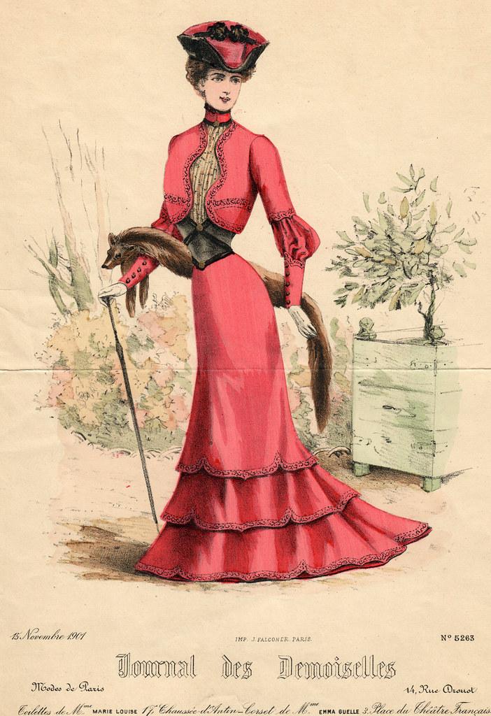 Gravue d emode 1901, robe corail vif