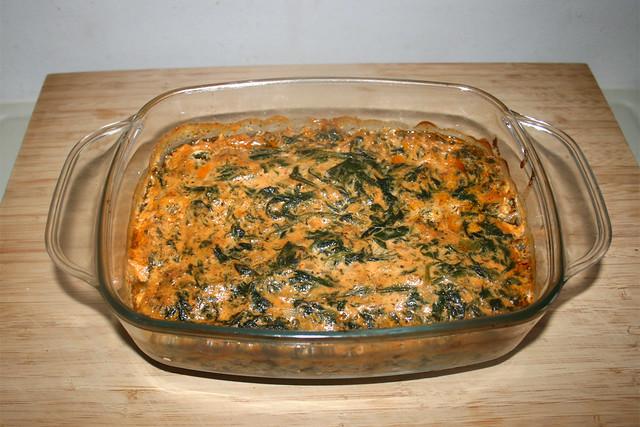 29 - Salmon cream gratin with spinach - Finished baking / Lachs-Sahne-Gratin mit Spinat - Fertig gebacken