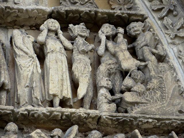 Bienvenue en Enfer, portail central, XIIIe siècle, cathédrale St Jean-Baptiste, Bazas, Bazadais, Gironde, Nouvelle-Aquitaine, France.