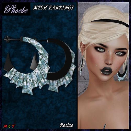 FREE GIFT!!! *P* Suzie MESH Earrings ~Black-BGemstone~ v2