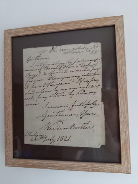 Framed Weeden letter