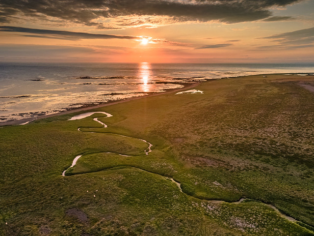 Sunset over a beach of Iceland