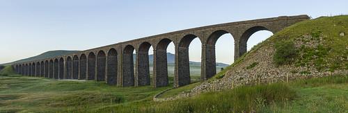 landscape yorkshire northyorkshire yorkshiredales ribbleheadviaduct settlecarlislerailway ingleborough panorama