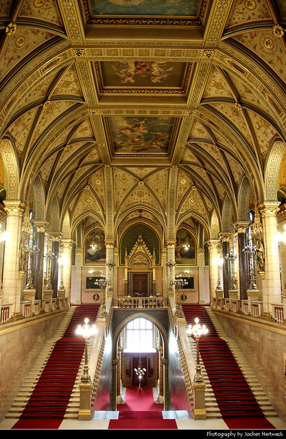 Main Staircase of the Hungarian Parliament Building, Budapest, Hungary