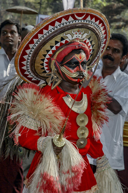 Theyyam in Red Or is it the Oracle from Kodungaloor -  in Fort Kochi , Kerala