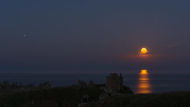 Buck Moon Rising over Dunnottar Castle