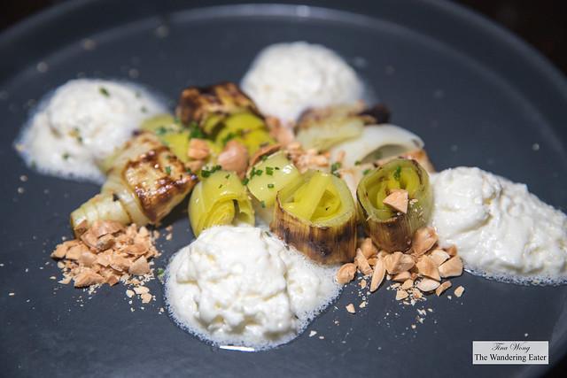 Josper Roasted Leeks, Lemon Buerre Blanc, smoked almond
