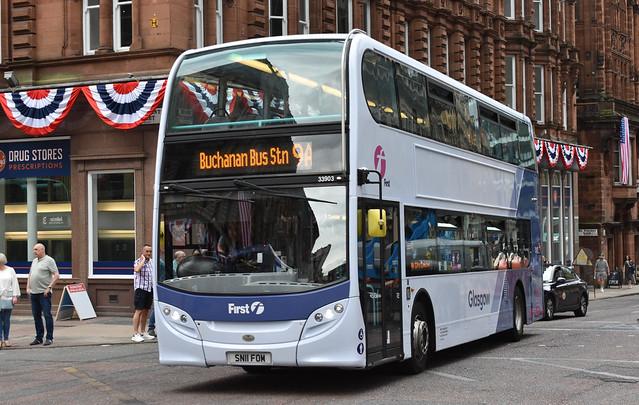 First Glasgow Alexander Dennis Enviro 400 33903 Route 9A