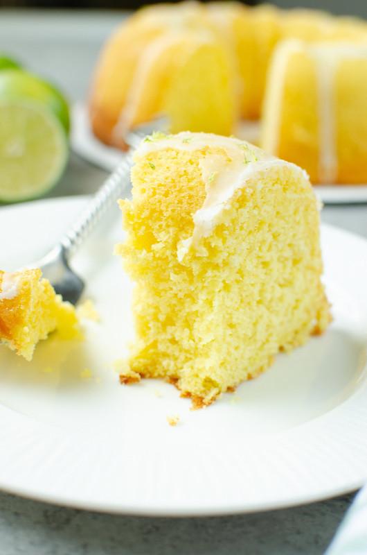 Margarita bundt cake with a bite taken out
