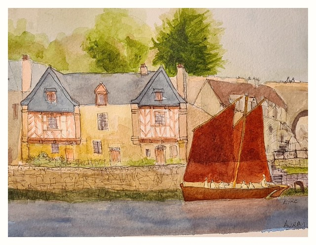 Auray,  Brittany. Pen and wash.