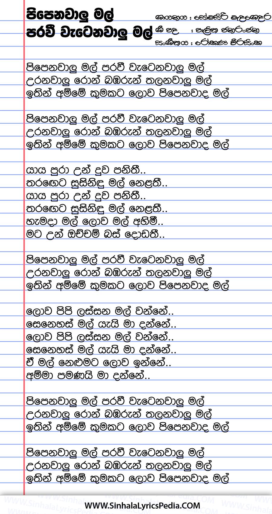 Pipenawalu Mal Paravi Song Lyrics