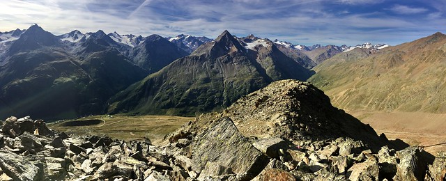 Panorama from Wildes Mannle in the Oetztal Alps, Tyrol, Austria