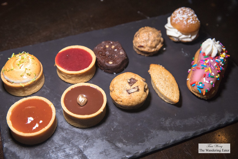 Miniature pastries and cookies