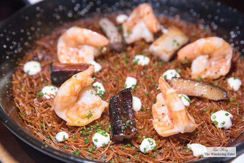 Rossejat Paella-style Pasta, Gulf shrimp, pork, aioli