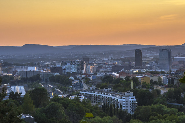 Sunset over Oslo citysenter