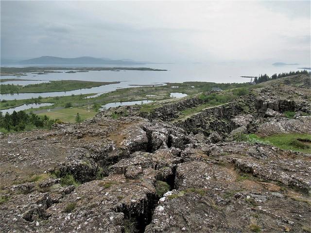 Rock formations, view to Þingvallavatn, Þingvellir, Iceland