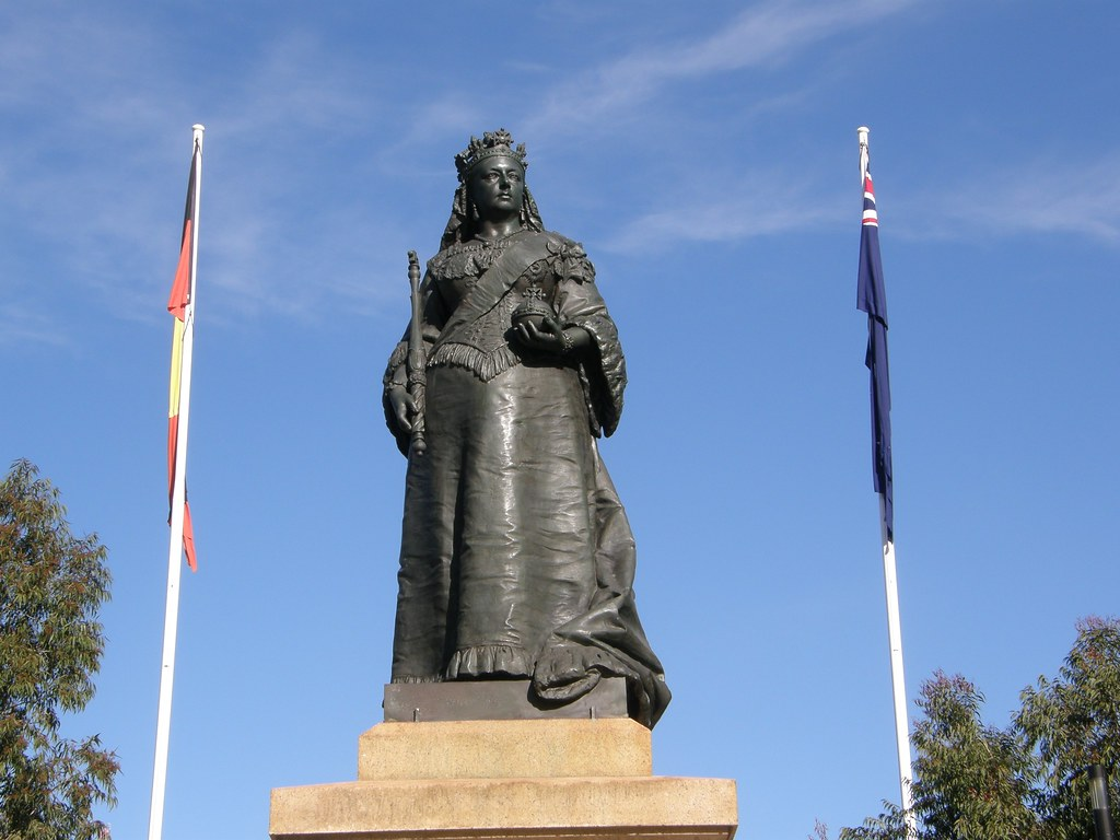 Adelaide Victoria Square - Sculpture of Queen Victoria located in the middle of her namesake square. South Australia