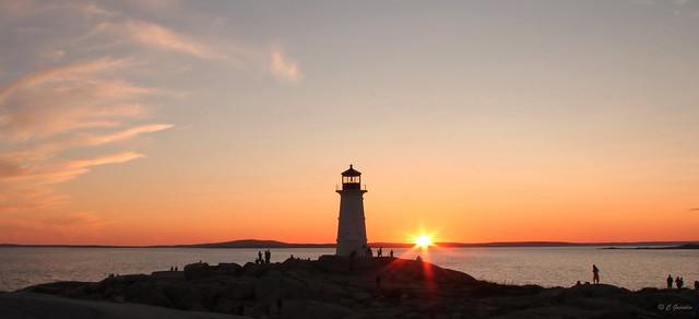 SUNSET   PEGGY'S  COVE   LIGHTHOUSE   ST. MARGARETS BAY   NOVA SCOTIA   NS   CANADA.