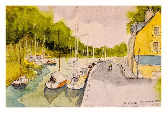 La Roche Bernard , Brittany. Pen and wash