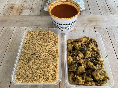 Clockwise from right: pallipalayam chicken and kushka