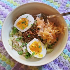 Breakfast today was oatmeal with ssamjang that we made last night, kimchi, steamed CSA eggs and scallions. It was delicious! #savoryoatmeal #oatmeal #oatmealbowl #csa #CommunitySupportedAgriculture @lowlandsfarm @fireflykitchensseattle