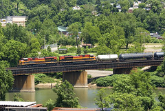 A pair of KCS Aces lug and empty tanker train over the bridge near Port Vue back in 2011.