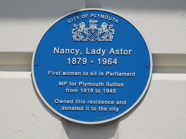 Plymouth Nancy Astor Blue Plaque