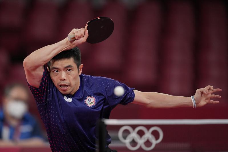 莊智淵在東京奧運桌球男單賽止於16強。(達志影像資料照)
