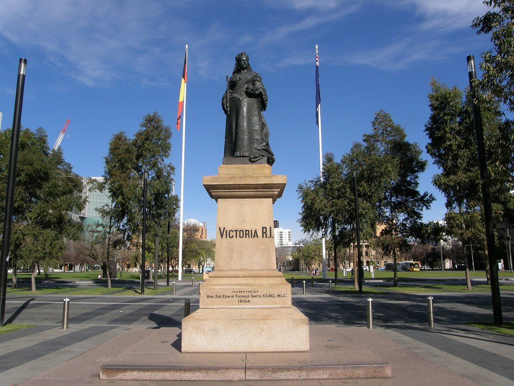 Adelaide Victoria Square - Monument to honour Queen Victoria with sculpture given to the City of Adelaide by Sir Edwin Thomas Smith KCMG and unveiled 1894. South Australia