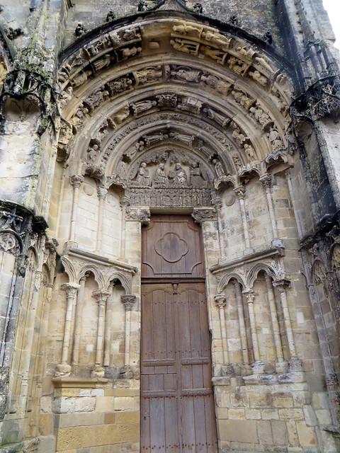 Portail sud dit de la Vierge, XIIIe siècle, cathédrale St Jean-Baptiste, Bazas, Bazadais, Gironde, Nouvelle-Aquitaine, France.