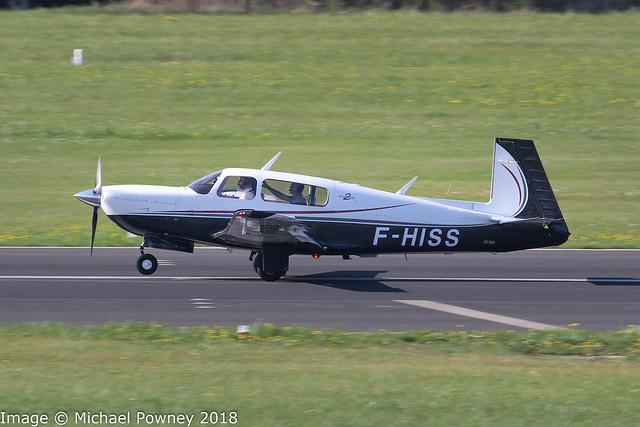 F-HISS - 2005 build Mooney M.20R Ovation GX, arriving on Runway 24 at Friedrichshafen during Aero 2018