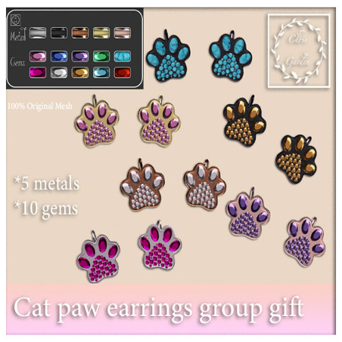 Cat paw earring gift group