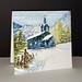 Petite église bleue à Noël (Étampes Penny Black)