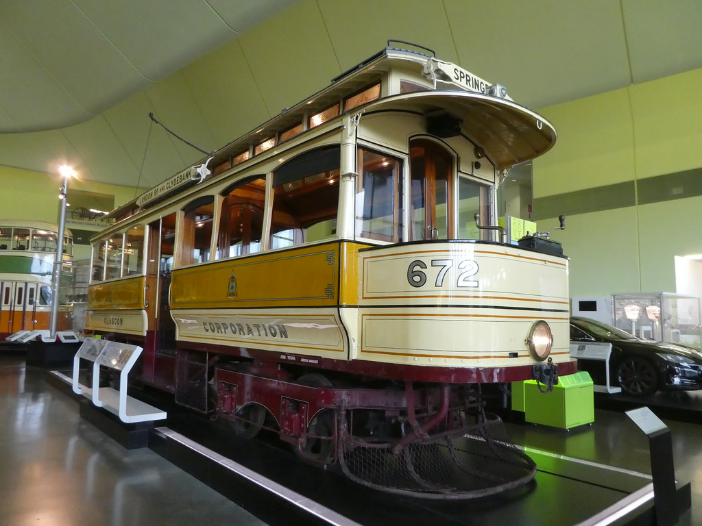 An old Glasgow tram in the Riverside Museum
