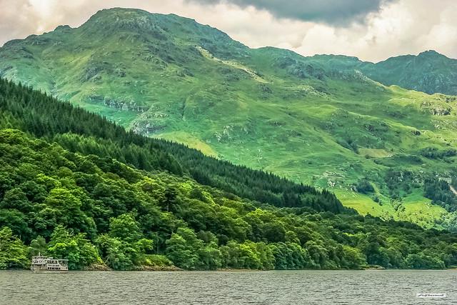 Slopes of Ben Vorlich from Loch Lomond, Argyll, Scotland..