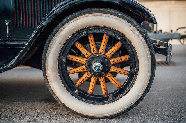 Tire of a vintage American Buick car  from early 1900s, close-up