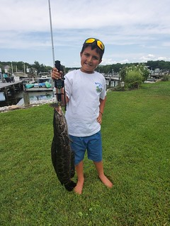 Photo of a boy holding a snakehead on the end of his fishing rod