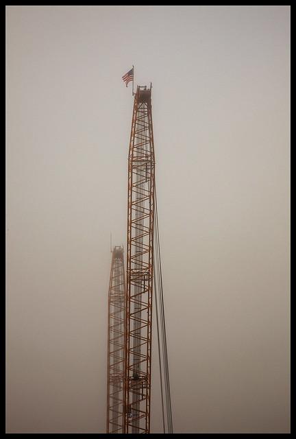 St Johns River #12 2021; Crane at the Bridge in the Fog