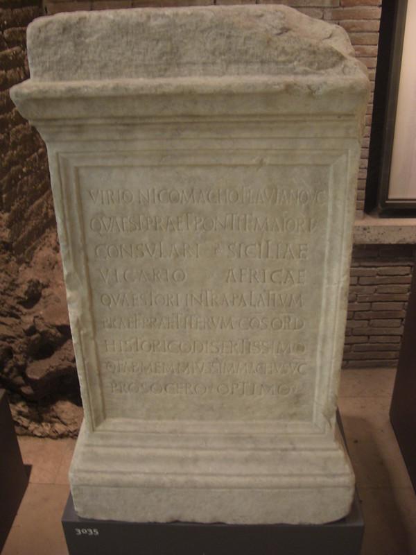 Statue Base dedicated to Virius Nicomachus Flavianus