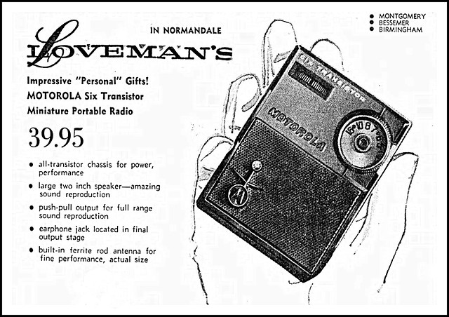 Vintage Advertising For The Motorola Model X21 Transistor Radio In The Montgomery Alabama Advertiser Newspaper, December 22, 1960